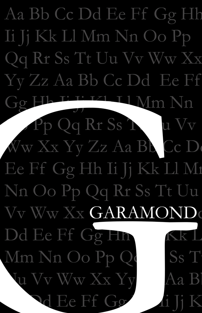 Poster for the Garamond font « Ashley Parkin